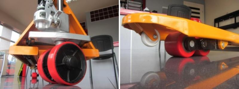 Wózki paletowe - koła PU i rolki naprowadzające